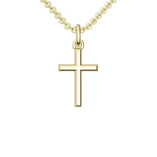 Kreuzkette Gelbgold vergoldet Silber 925 Kette Kreuzanhänger - Kreuz - Cross AMOONIC