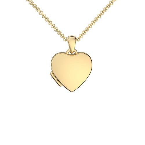 Herzkette Herz Medaillon Gelbgold vergoldet Silber 925 Kette Herzanhänger - Herz Amulett - Smooth Heart AMOONIC
