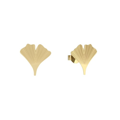 Ohrringe Ohrstecker Silber 925 Gelbgold vergoldet - Ginkgo Blatt - Flowerly Parts AMOONIC