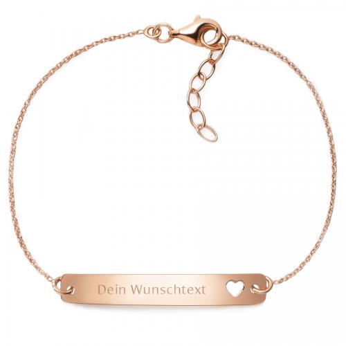 """Muttertagsgeschenk - Armband mit Gravurplatte """"Herz"""" - individuell gravierbar - 925 Sterlingsilber"""
