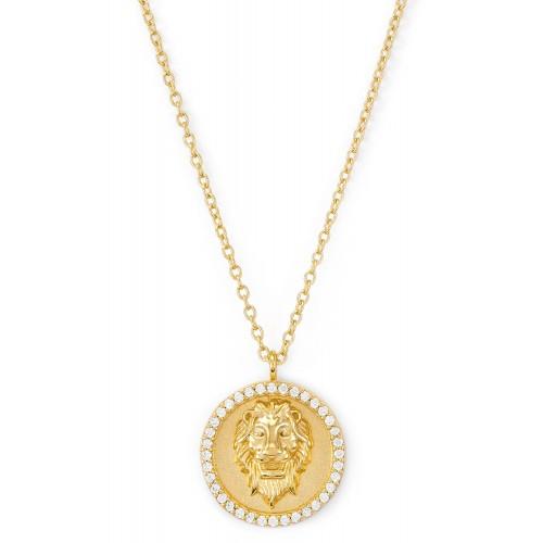 Münzkette Löwenkopf mit Zirkonia - 925 Sterlingsilber