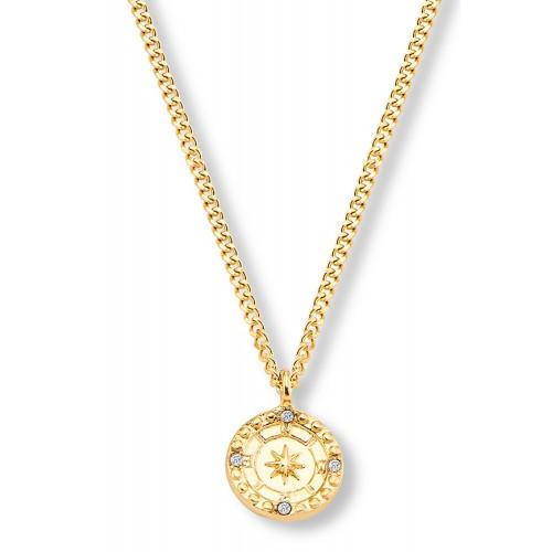 Halskette Sternenkompass mit Zirkonia - individuell gravierbar