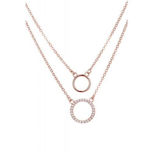 Kreis - Halskette Double Chain&Circle - 925 Sterlingsilber