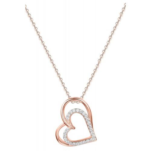 Muttertagsgeschenk - Halskette Double Heart - 925 Sterlingsilber