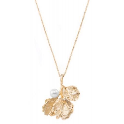 Halskette Leaf and Pearl - 925 Sterlingsilber