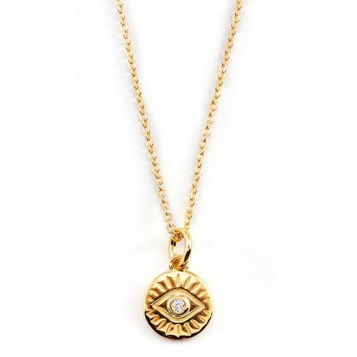 Münzkette Auge - 925 Sterlingsilber