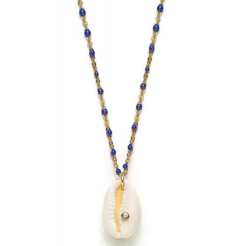 Muschel-Halskette Blue Kauri mit Zirkonia