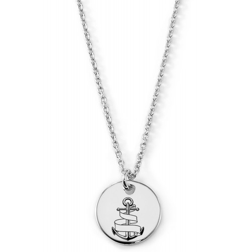 Gravierbare Halskette Anker mit rundem Anhänger