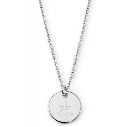 """Gravierbare Halskette """"Glaube, Liebe, Hoffnung"""" mit rundem Anhänger"""