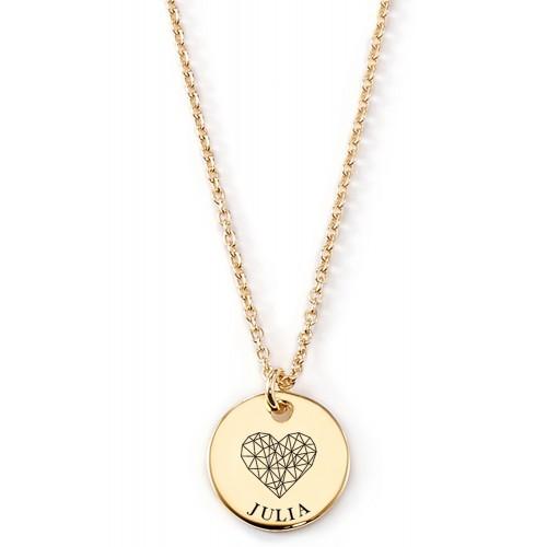 Gravierbare Halskette Grafisches Herz mit rundem Anhänger