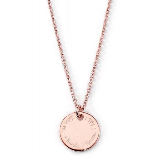 """Gravierbare Halskette """"Liebe ist..."""" (rund) mit rundem Anhänger"""