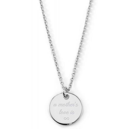 """Gravierbare Halskette """"A mothers love is infinite"""" mit rundem Anhänger"""