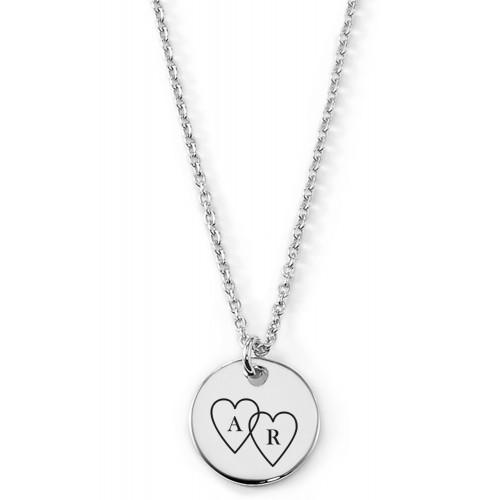 Gravierbare Halskette Zwei Herzen mit rundem Anhänger