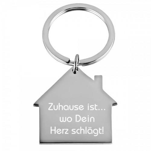 Edelstahl-Schlüsselanhänger Haus