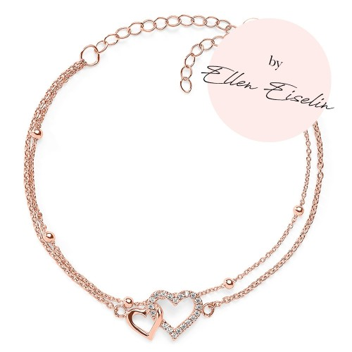 Herz-Armband Touch of Love mit Zirkonia by Ellen Eiselin - 925 Sterlingsilber