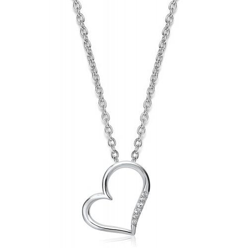 Herzkette mit Zirkonia  - 925 Sterlingsilber