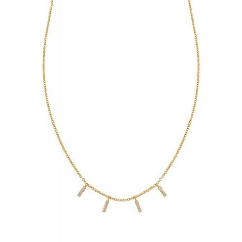 Halskette Triple Sparkle mit Zirkonia - 925 Sterlingsilber