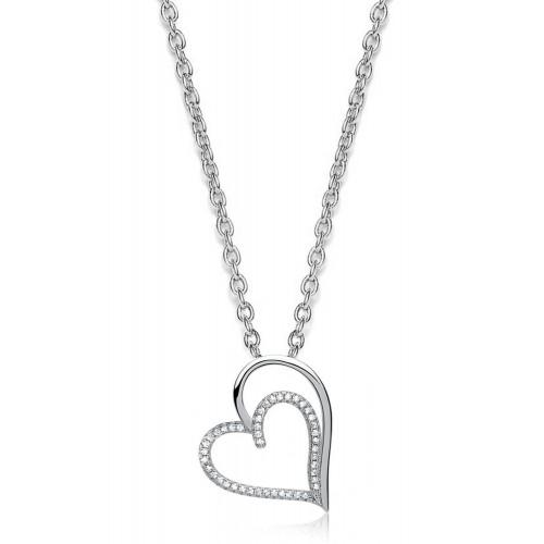 925er Silberkette mit Herzanhänger mit Zirkonia