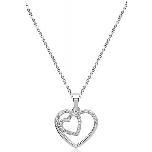 Silber-Kette rhodiniert Zirkonia mit zwei Herzen