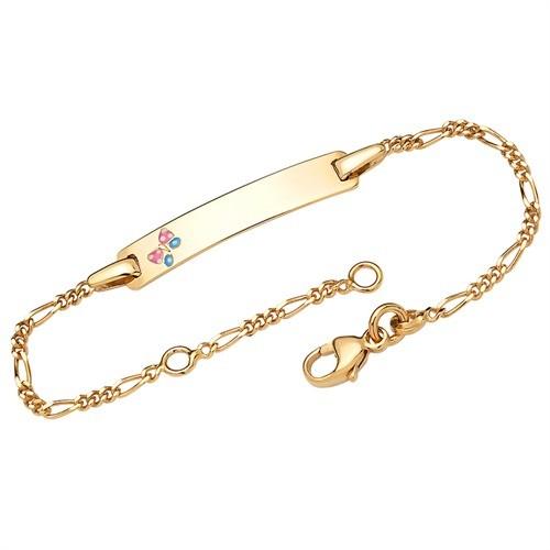 """Figaro-Armband """"Schmetterling"""" mit persönlicher Gravur (375 Gelbgold)"""