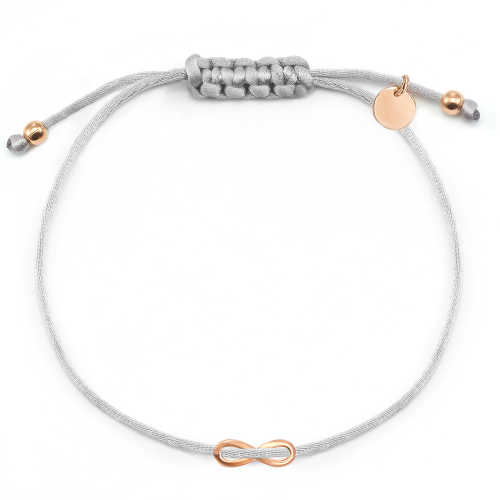 "Muttertagsgeschenk - Infinity-Stoffarmband ""Glorious Infinity"" | gravierbar - 925 Sterlingsilber"