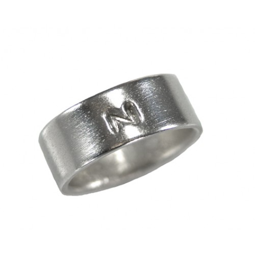 Ring mit Initial, Sterling Silber
