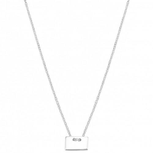 Gravierbare Halskette mit eckigem Anhänger | 925 Sterlingsilber
