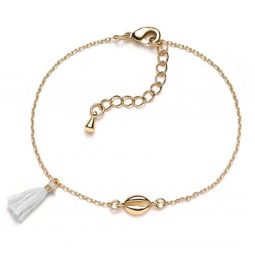 Muschel-Armband Mini Kauri mit Puschel