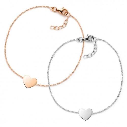 Muttertagsgeschenk-Set - Herz-Armbänder - individuell gravierbar - 925 Sterlingsilber