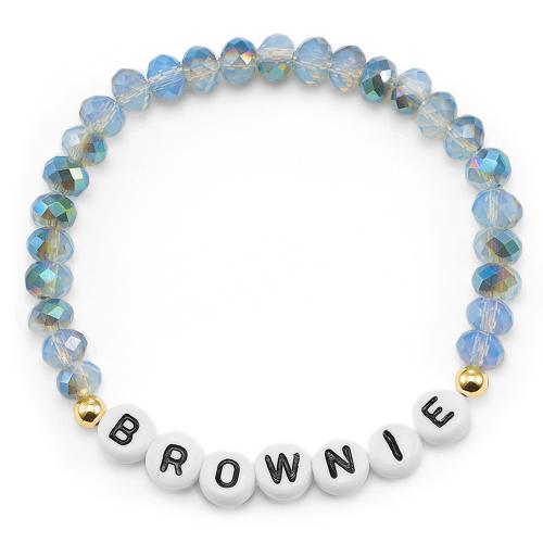 """Namensarmband mit Wunschbuchstaben - Perlen """"Light Blue"""""""