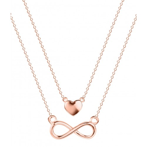 "Muttertagsgeschenk - Halskette ""Double Chain Infinity-Love"" - 925 Sterlingsilber"