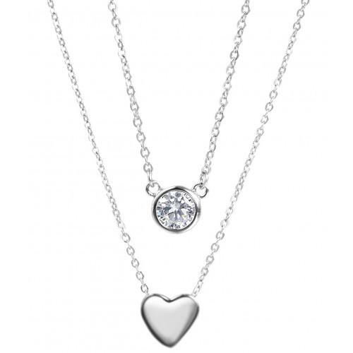 """Halskette """"Zirkonia&Heart"""" - 925 Sterlingsilber"""