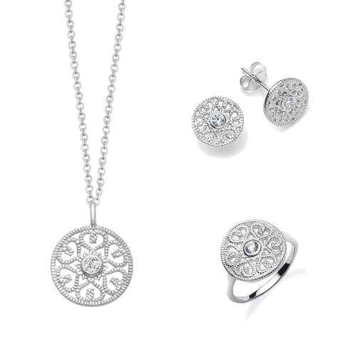 "Set ""Ornament mit Zirkonia"" - 925 Sterlingsilber"