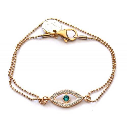 Kettenarmband – Exclusive Ma'Imi – Sterling Silber 925 vergoldet & schützendes Auge