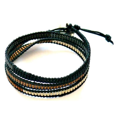 Wickelarmband – Miyukiperlen & schwarz