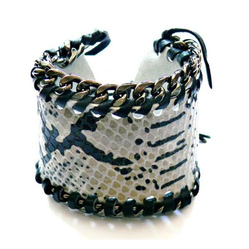 Kettenarmband – Schlangenleder & Schwarz