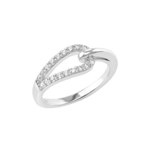 Ring Loop mit Zirkonia - 925 Sterlingsilber
