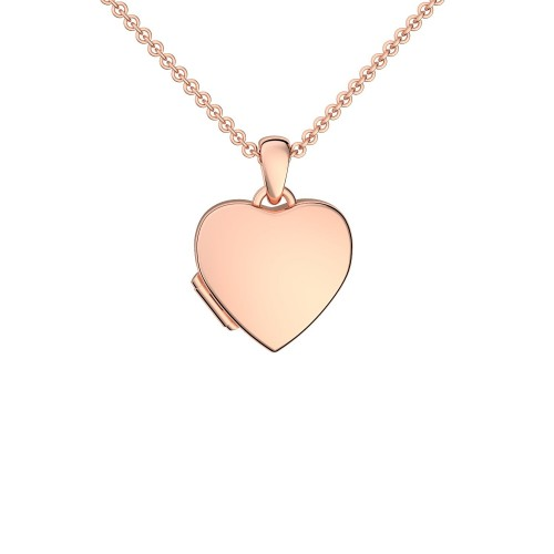 Herzkette Herz Medaillon Roségold vergoldet Silber 925 Kette Herzanhänger - Herz Amulett - Smooth Heart AMOONIC
