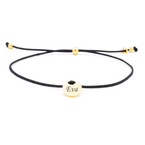 Armband Parma schwarz mit rundem Gravurplättchen in Gold