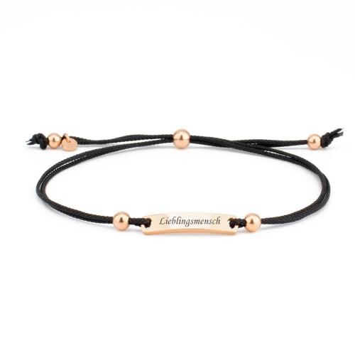 Armband Verona schwarz mit eckigem Gravurplättchen in Rosé-gold