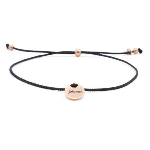 Armband Parma schwarz mit rundem Gravurplättchen in Rosé-gold