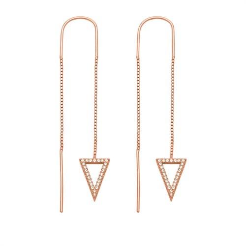 Durchzieh-Ohrringe Triangle vergoldet 925er Silber Zirkonia