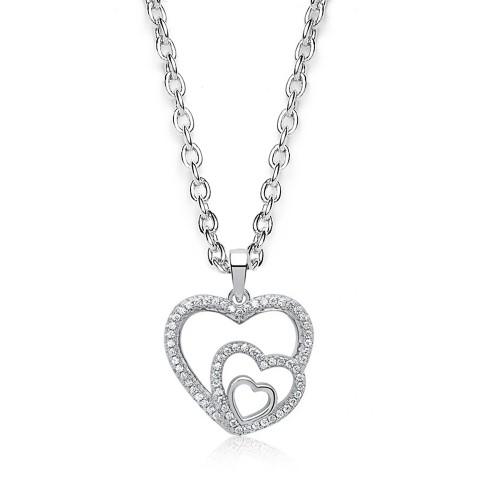 Silberkette mit verspieltem Herzanhänger Zirkonia