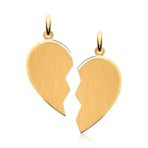 Herz Anhänger mit 2 Ketten und Gravur - gelbgoldvergoldet