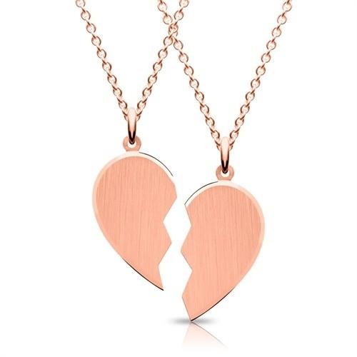 Herz Anhänger mit 2 Ketten und Gravur - roségoldvergoldet