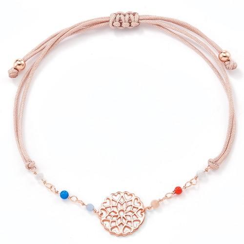 Stoffarmband mit Perlen Flora - 925 Sterlingsilber