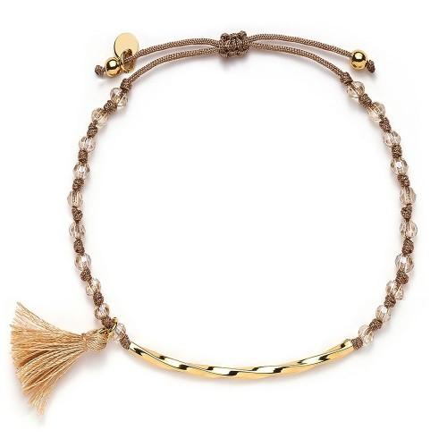 Stoffarmband mit Perlen und Puschel - 925 Sterlingsilber