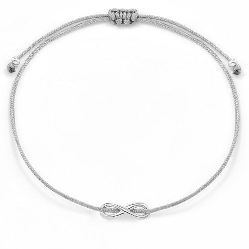 Infinity-Stoffarmband mit Unendlichkeitssymbol - 925 Sterlingsilber