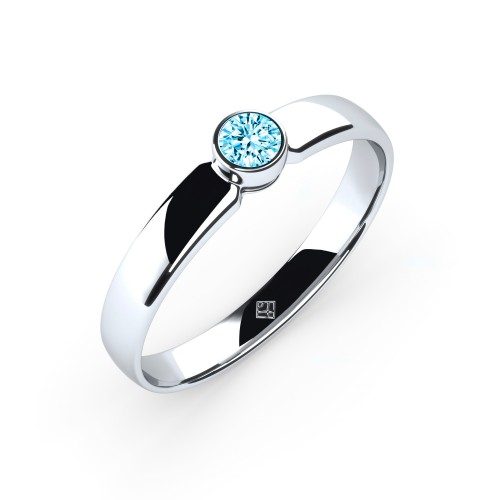 "Verlobungsring ""Simple Diamond"" mit Swarovski® Kristall Aquamarin"