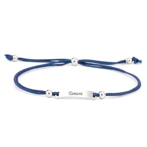 Armband Verona blau mit eckigem Gravurplättchen in Silber
